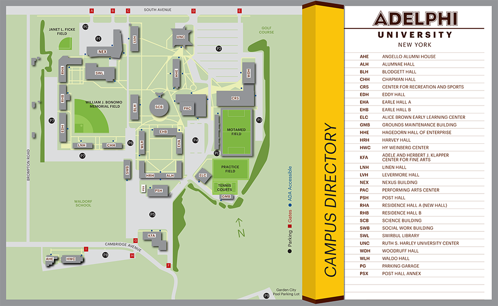adelphi university campus map Campus Map Brand Identity Adelphi University adelphi university campus map