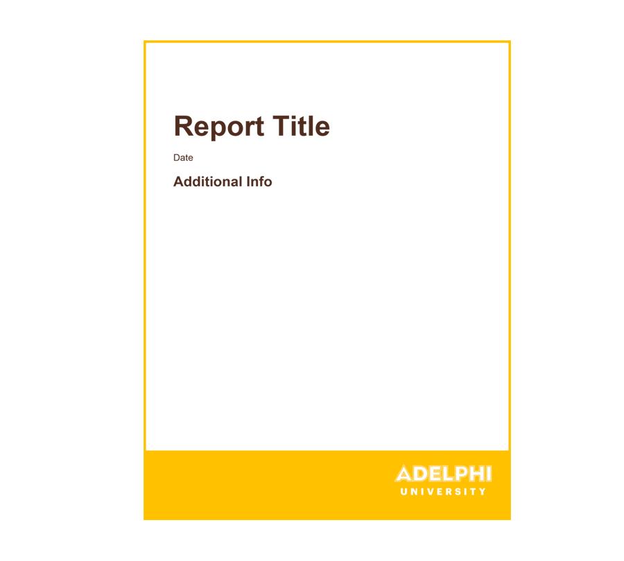 report cover templates brand identity adelphi university